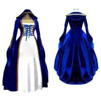 Medieval Dress Wholesale XXS to XXXL Cosplaydiy Blue&White Victorian Medieval Renaissance Dress Cosplay Costume Manufactures