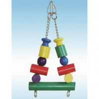 natural wood bird toys 10 inches swing with multiple color block for conure Manufactures