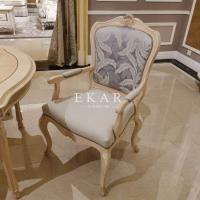 China French Style Fabric With Ash Wood Upholstered Dining Chair on sale