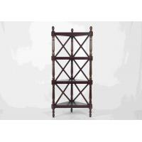 Walnut Soild Wooden Corner Shelf 4 Tiers , Multi Purpose Storage Rack Living Room Manufactures