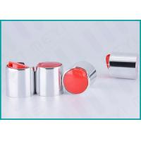 China 24mm Aluminum Disc Top Cap Glossy Silver For Body Wash Gel / Hand Washing Soap on sale