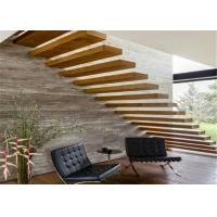 Solid Structure Floating Steps Staircase 40mm Solid Wood Tread For Residential Manufactures