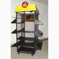 Floor Standing 4 Sides Gridwall Branded Display Stands Manufactures