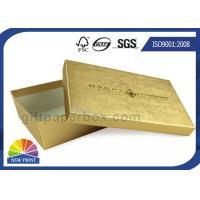 Gold Texture Paper Two Pieces Rigid Set Up Box For Gift Set Promotion Manufactures