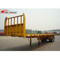 2- Axis 40 Foot Flat Deck Semi Trailer Baffle 8 Tires 13T FUWA Axles In Yellow Manufactures