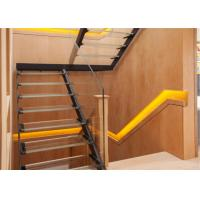 China Modern design customized wood stairs carbon steel mono stringer with glass railing on sale
