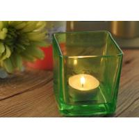 OEM Large Square Glass Candle Holders , Colored Glass Candle Holders