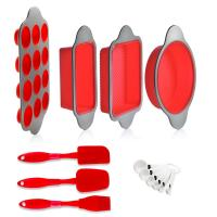 Silicone Baking Molds Pans and Utensils Kitchen   Silicone Cake Brownie Loaf Muffin Mold 2 Spatulas Brush 6 Measuring Manufactures
