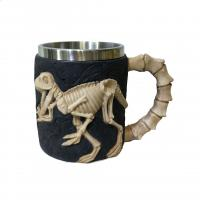 China 400ml animal polyresin double side stainless steel mug on sale
