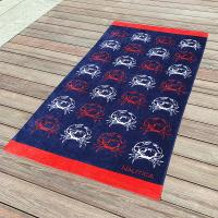 Crab Fitted Colorful Printed Beach Towels , Microfiber Male Beach Towels Manufactures