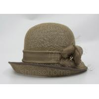 Fashionable Brown Mesh Bucket Beret Hat For Lady , Floriation Logo With Ribbon Manufactures