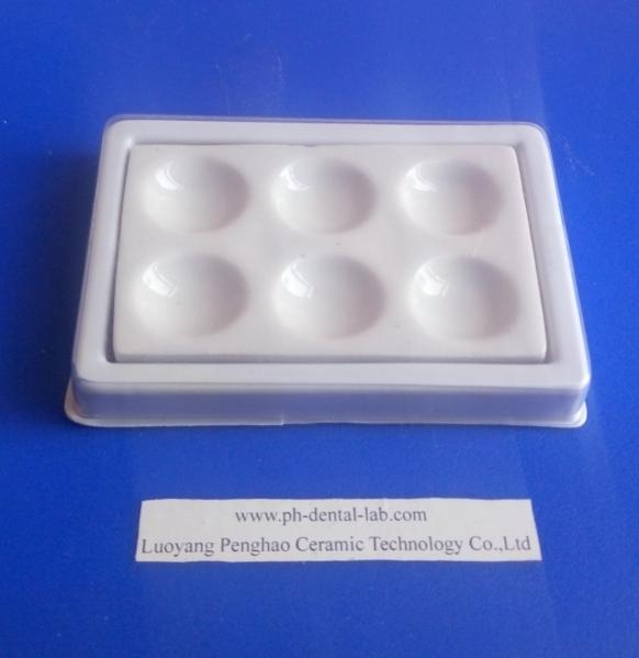 Quality Dental Ceramic Mixing Slab (  Plate), 6 Slots , having plastic Cover & bottom for sale