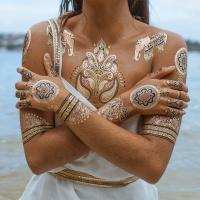 Custom Gold and Silver Temporary Tattoos Metallic Jewelry Waterproof Manufactures
