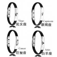 Fashion mens jewelry men bracelet stainless steel Silicon twelve constellations bracelets Manufactures