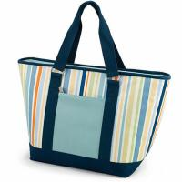 China Multifunctional Canvas Cooler Tote Bag Light Blue Convenient Outside Pocket on sale