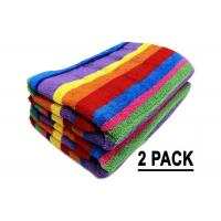 Promotion Cotton Beach Towels Colorful Stripe Pattern With Soft Hand Feeling Manufactures
