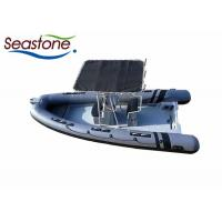 China Hard T Top Rigid Hulled Inflatable Boat Dark Grey PVC Tubes Stainless Steel Material on sale
