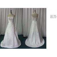Bateau A-line Strapless Satin Floor Length Real Sample Wedding Dresses / Bridal Gown Manufactures