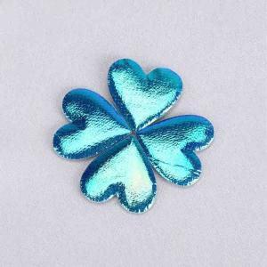 China Glitter Heart Ultrasonic Embossing Flowers Crafts Sparkling Blue Heart Padded Glitter on sale