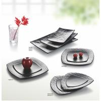 China Porcelain Dinnerware Sets / Melamine Black Matte Dinner Set Plate Unique Shape on sale