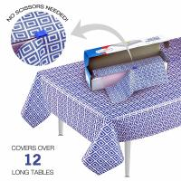 China Blue Picnic Disposable Plastic Table Skirts , Party Tablecloth Roll With Self Cutter Box on sale