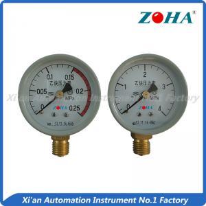 China Acetylene Medium Brass General Pressure Gauge With Bottom Mounting 63mm on sale