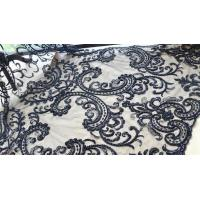 Black Heavy Beaded Mesh Fabric By The Yard , Embroidered Net Fabric With Beads Manufactures
