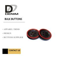 Fashion Polyester Bulk Clothing Buttons Black & Red Trims Solution Manufactures