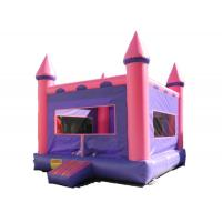 China Purple And Pink Inflatable Bounce House / Blow Up Trampoline With Basketball Frame on sale