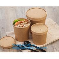 paper soup cups with paper lids hot soup kraft paper cup,disposable kraft paper soup cup with paper lid,bagease package Manufactures