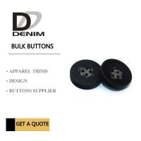 Decorative Polyester Button 4 Holes Black Coat Buttons Garment Accessories Manufactures