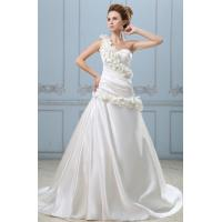 Fashion Long Heart Neckline Satin Wedding Dresses with Handmade Flowers Manufactures