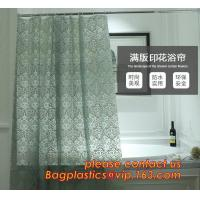 China CAT'S EYE GRAIN GREEN SHOWER CURTAIN, Custom Printed Hookless Shower Curtain,Kids Shower Curtain, Fiber Bathroom Ruffled on sale