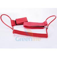 1.5M Long Quality Red Plastic Spring Coil Fishing Lanyard With Velcro Strap 2pcs