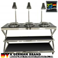 China Durable Mobile Buffet Stations 3 Mini Chafing Dishes Feat 3 Heat Lamps Set In Granite Banquet Table on sale
