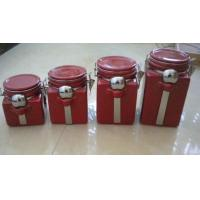Red Personalized Ceramic Cookie Jar With Metal Clip And Spoon 10 X 10 X 20 Cm Manufactures