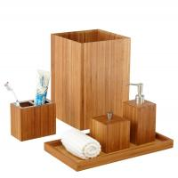Customized Bamboo Bathroom Supplies 5 Piece Bamboo Bath And Vanity Box Antibacterial Manufactures