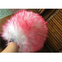 Household Red Color Sheepskin Car Wash Mitt With Long Hair / Both Side Wool Manufactures