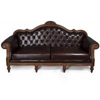 Carved Solid Wood Frame Leather Upholstered Chesterfield Sofa Manufactures