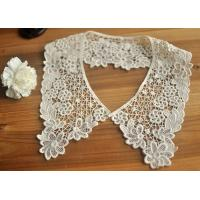 Cotton Bridal Neckline Lace Collar Applique , Floral Embroidery Lace Collar Manufactures