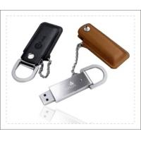 China Brown Leather USB Stick / Usb Flash Drive Leather Long Data Retention on sale
