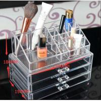 China Tabletop Large Clear Acrylic Makeup Organizer With 3 Storage Drawers on sale