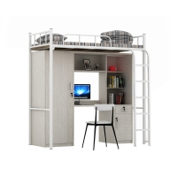 China Metal Dormitory Knock down Double Bunk Bed With Desk on sale