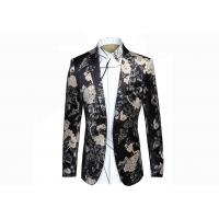 Autumn / Winter Mens Floral Print Blazer Notch Lapel Back Vent 100% Polyester Manufactures