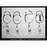 Solid white carabiner badge reel with silk screen printing logo