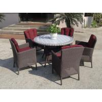 Plastic Rattan Garden Dining Sets , Strong Brown Dining Table Set