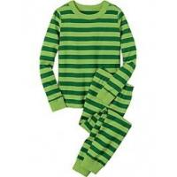 Green stripe color Cozy Fabric Long Cotton childrens Pjamas Set For Autumn, Spring Manufactures