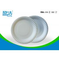 Food Contact Safety Bulk Disposable Plates , Biodegradable Paper Plates For Barbeque Manufactures