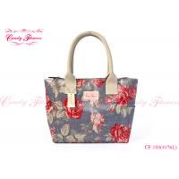 China Beautiful Flower Print Tote Handbags , Women Floral Shopper Bag on sale