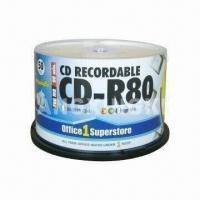 Quality Printed CD-R with 50-piece Cake Box Pack, Made of Virgin Material, OEM Services Provided for sale
